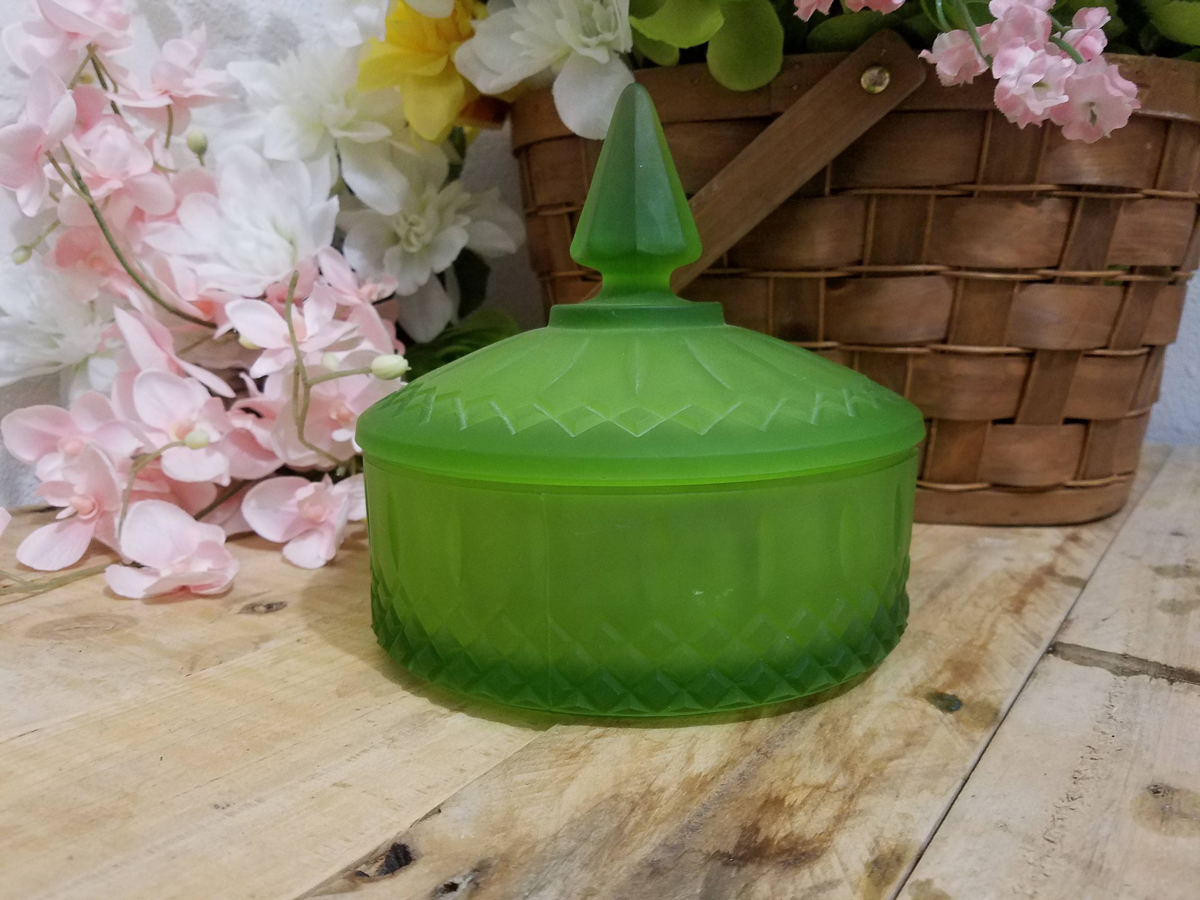 Green Indiana Frosted Glass Candy Dish With Lid Maryist Of Memories